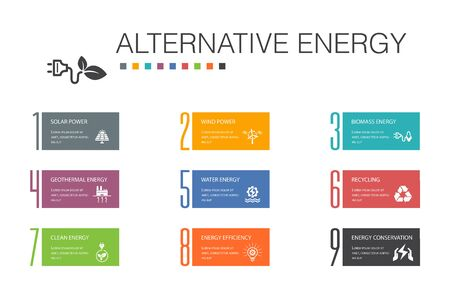Alternative energy Infographic 10 option line concept.Solar Power, Wind Power, Geothermal Energy, Recycling simple icons