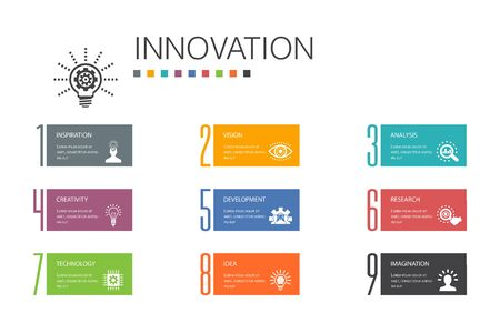 Innovation Infographic 10 option line concept.inspiration, vision, creativity, development simple icons  イラスト・ベクター素材