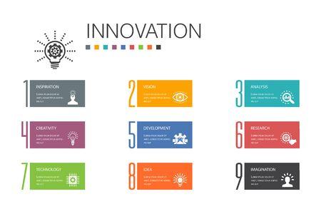 Innovation Infographic 10 option line concept.inspiration, vision, creativity, development simple icons 向量圖像