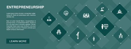 Entrepreneurship banner 10 icons concept.Investor, Partnership, Leadership, Team building simple icons