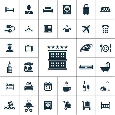 Ensemble universel d'icônes d'hôtel pour le web et le mobile.