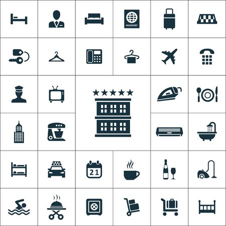 hotel icons universal set for web and mobile.