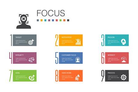 focus Infographic 10 option line concept.target, motivation, integrity, process simple icons