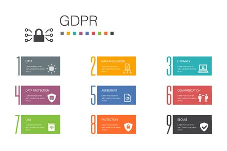 GDPR Infographic 10 option line concept.data, e-Privacy, agreement, protection simple icons 일러스트