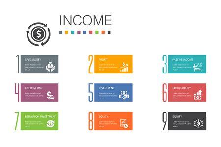 Concept de ligne d'options de l'infographie 10 sur le revenu. Économisez de l'argent, des bénéfices, des investissements, des icônes simples de rentabilité