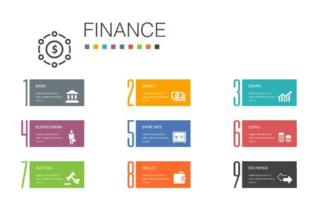 Finance Infographic 10 option line concept.Bank, Money, Graph, Exchange simple icons