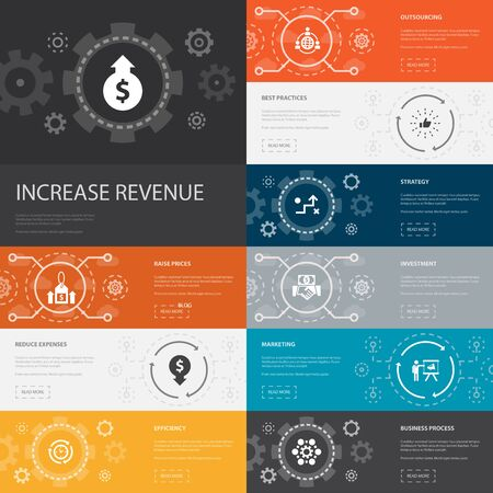 increase revenue Infographic 10 line icons banners. Raise prices, reduce expenses, best practices, strategy simple icons