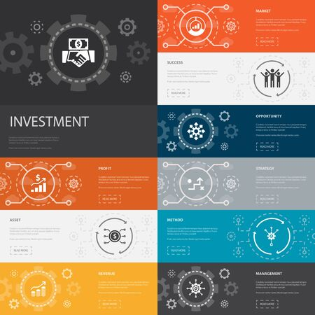 Investment Infographic 10 line icons banners. profit, asset, market, success simple icons Ilustrace