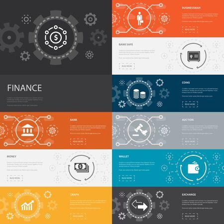 Finance Infographic 10 line icons banners. Bank, Money, Graph, Exchange simple icons Ilustração