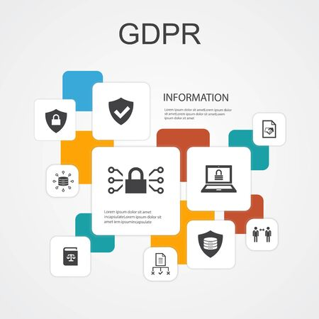 GDPR Infographic 10 line icons template. data, e-Privacy, agreement, protection simple icons