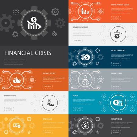 financial crisis Infographic 10 line icons banners. budget deficit, Bad loans, Government debt, Refinancing simple icons