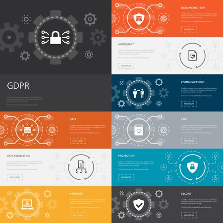 GDPR Infographic 10 line icons banners. data, e-Privacy, agreement, protection simple icons Stock Illustratie