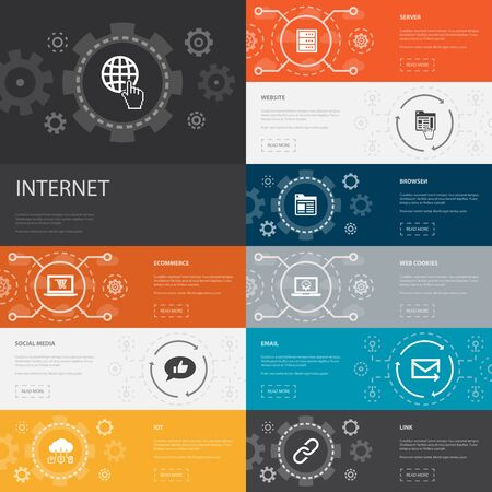 internet Infographic 10 line icons banners. ecommerce, social media, website, Email simple icons Illustration