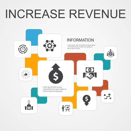 increase revenue Infographic 10 line icons template. Raise prices, reduce expenses, best practices, strategy simple icons