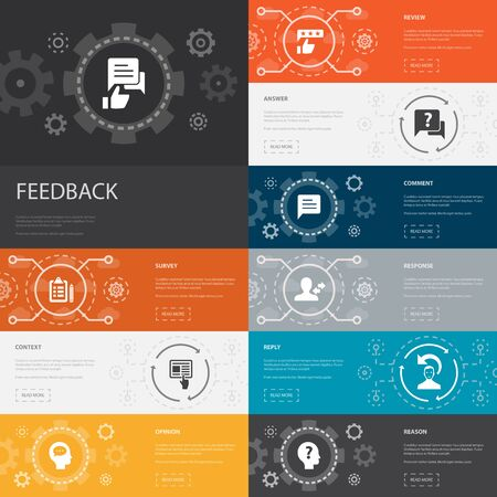 feedback Infographic 10 line icons banners. survey, opinion, comment, response simple icons Çizim