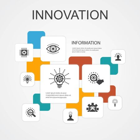 Innovation Infographic 10 line icons template. inspiration, vision, creativity, development simple icons Illustration