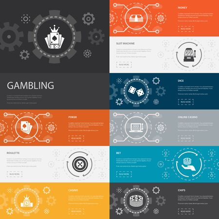 gambling Infographic 10 line icons banners. roulette, casino, money, online casino simple icons Ilustração