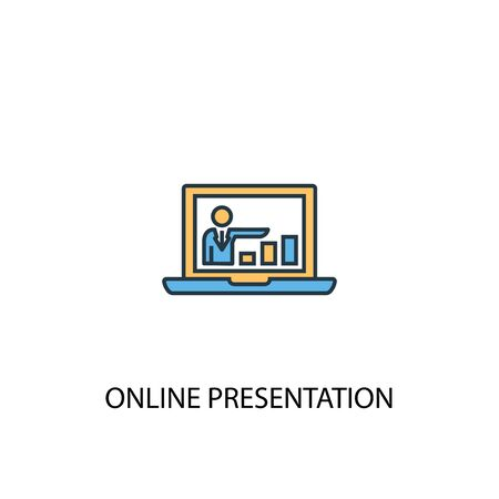 online presentation concept 2 colored icon. Simple blue element illustration. online presentation concept symbol design. Can be used for web and mobile UI