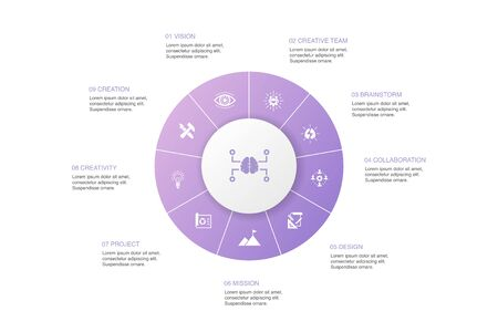 Creative Strategy Infographic 10 steps circle design. vision, brainstorm, collaboration, project simple icons