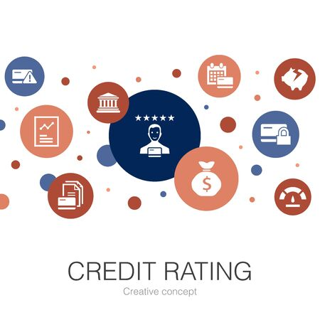 credit rating trendy circle template with simple icons. Contains such elements as Credit risk, Credit score, Bankruptcy, Annual Fee 向量圖像