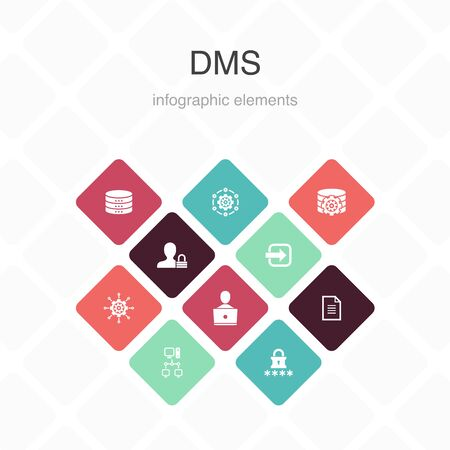 DMS Infographic 10 option color design.system, management, privacy, password simple icons