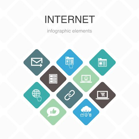 internet Infographic 10 option color design.ecommerce, social media, website, Email simple icons 向量圖像