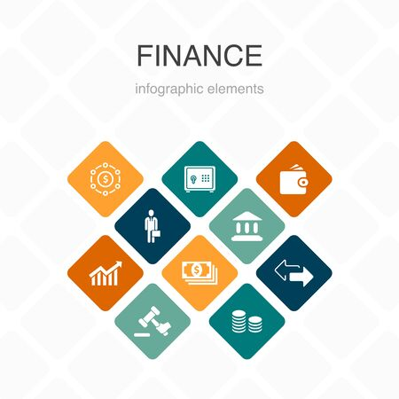 Finance Infographic 10 option color design.Bank, Money, Graph, Exchange simple icons Ilustração