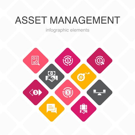 asset management Infographic 10 option color design.audit, investment, business, stability simple icons
