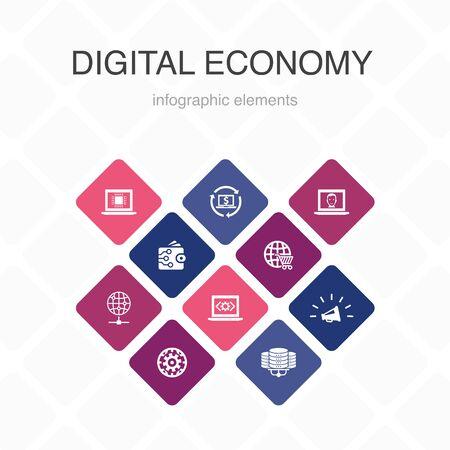 Digital economy Infographic 10 option color design.computing technology, e-business, e-commerce, data center simple icons