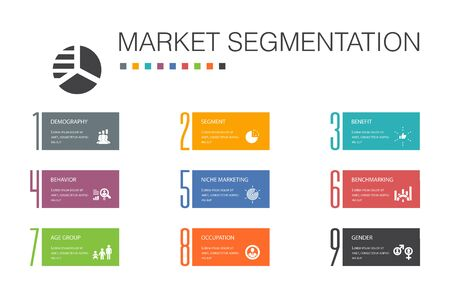 market segmentation Infographic 10 option line concept.demography, segment, Benchmarking, Age group simple icons