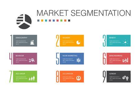 market segmentation Infographic 10 option line concept.demography, segment, Benchmarking, Age group simple icons