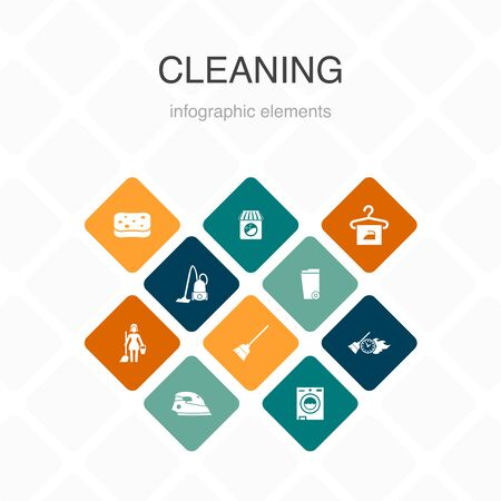 Cleaning Infographic 10 option color design. broom, trash can, sponge, dry cleaning simple icons Çizim