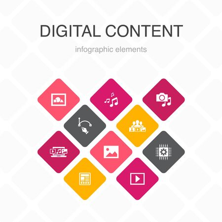 digital content Infographic 10 option color design.vector image, media, video, social content