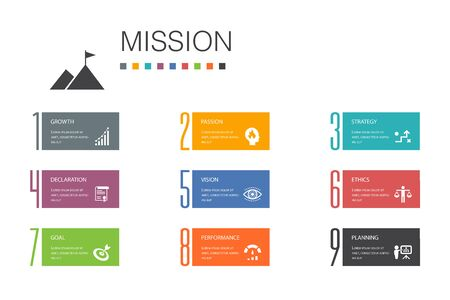 Mission Infographic 10 option line concept.growth, passion, strategy, performance simple icons