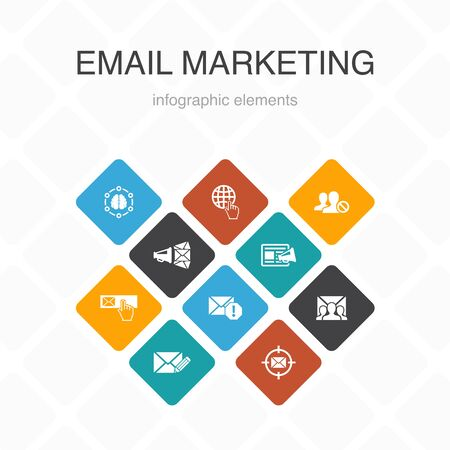 Email Marketing Infographic 10 option color design. subscribe, compose mail, Blacklist, internet simple icons