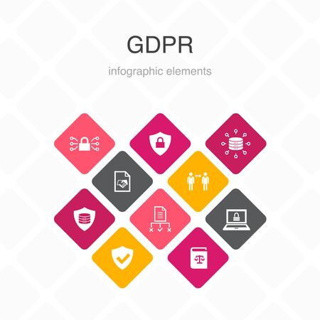 GDPR Infographic 10 option color design.data, e-Privacy, agreement, protection simple icons 向量圖像