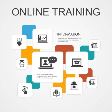 Online Training Infographic 10 line icons template.Distance Learning, learning process, elearning, seminar simple icons