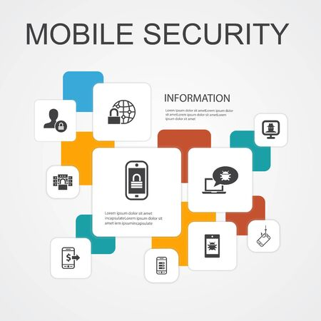 mobile security Infographic 10 line icons template.mobile phishing, spyware, internet security, data protection simple icons Illustration