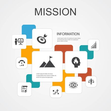 Mission Infographic 10 line icons template.growth, passion, strategy, performance simple icons