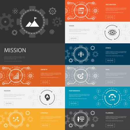 Mission Infographic 10 line icons banners.growth, passion, strategy, performance simple icons