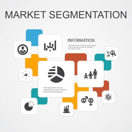 market segmentation Infographic 10 line icons template.demography, segment, Benchmarking, Age group simple icons