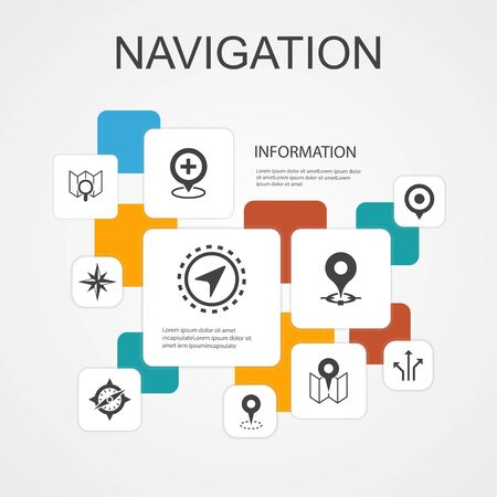 Navigation Infographic 10 line icons template.location, map, gps, direction simple icons