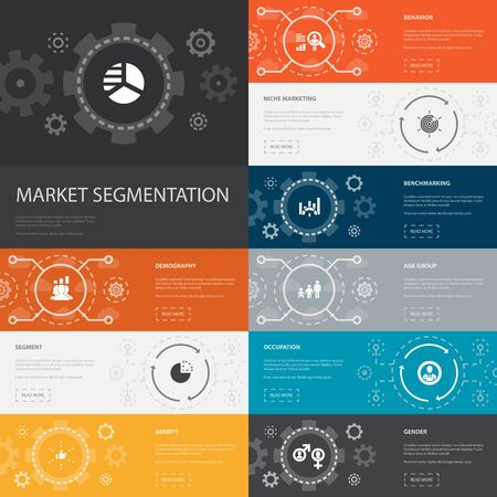 market segmentation Infographic 10 line icons banners.demography, segment, Benchmarking, Age group simple icons