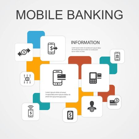 Mobile banking Infographic 10 line icons template.account, banking app, money transfer, Mobile payment simple icons