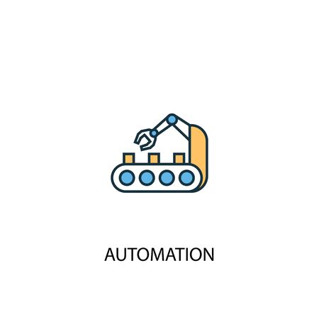 automation concept 2 colored line icon. Simple yellow and blue element illustration. automation concept outline symbol design Illustration