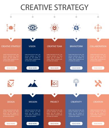 Creative Strategy Infographic 10 option UI design.vision, brainstorm, collaboration, project simple icons