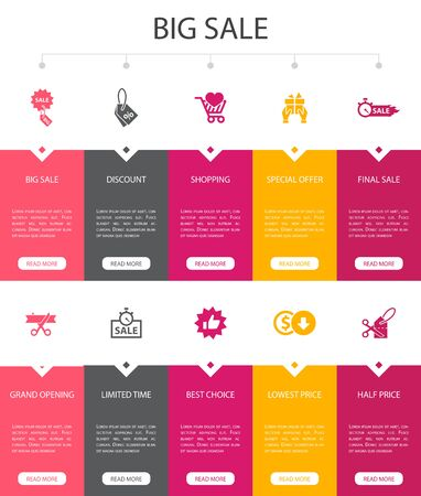 big sale Infographic 10 option UI design.discount, shopping, special offer, best choice simple icons