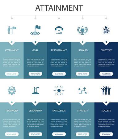 attainment Infographic 10 option UI design.goal, leadership, objective, teamwork simple icons