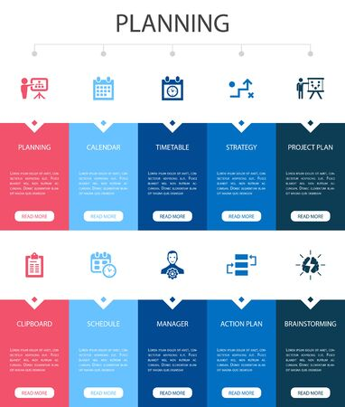 planning Infographic 10 option UI design. calendar, schedule, timetable, Action Plan simple icons