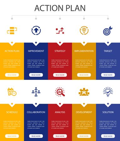 action plan Infographic 10 option UI design.improvement, strategy, implementation, analysis simple icons